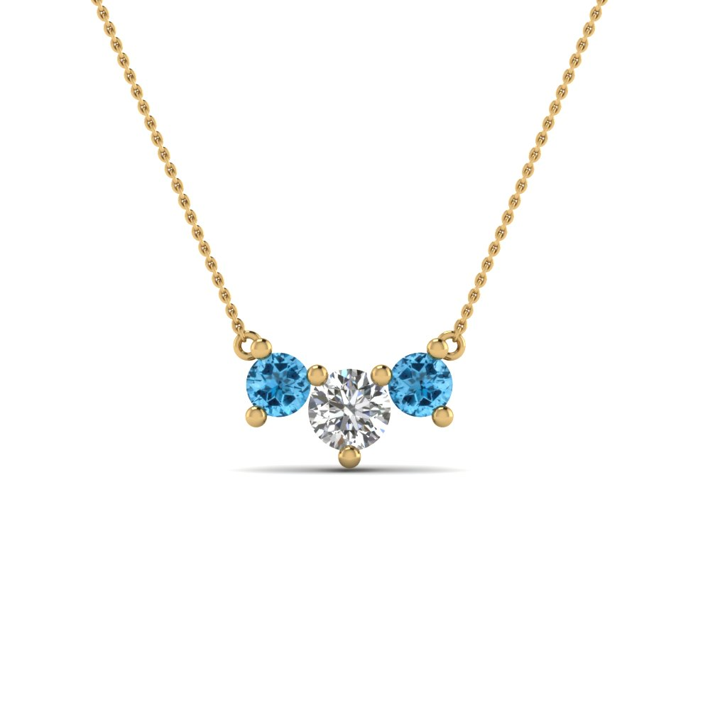 3 stone diamond necklace pendant for women with ice blue topaz in 3 stone diamond necklace pendant for women with ice blue topaz in 14k yellow gold fdnk8065gicblto aloadofball Images