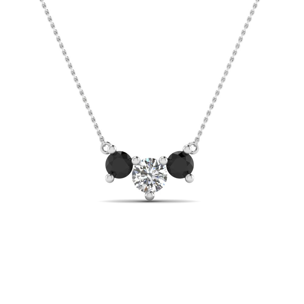 3 stone necklace pendant for women with black diamond in 14K white gold FDNK8065GBLACK NL WG