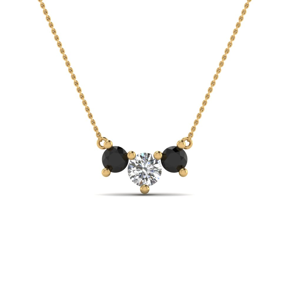 ca108b92b 3 stone gold necklace pendant for women with black diamond in 14K yellow  gold FDNK8065GBLACK NL
