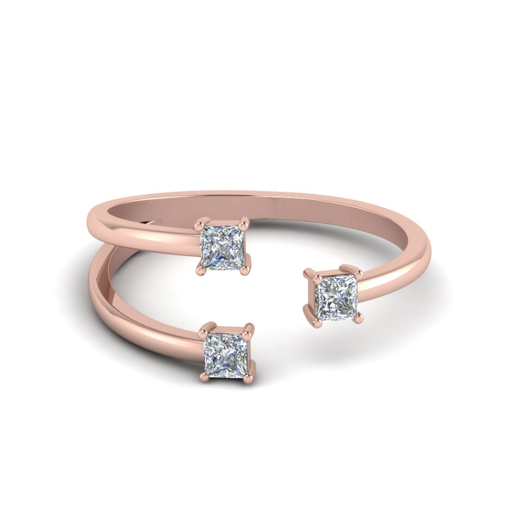 3 Stone Open Engagement Ring In 14K Rose Gold