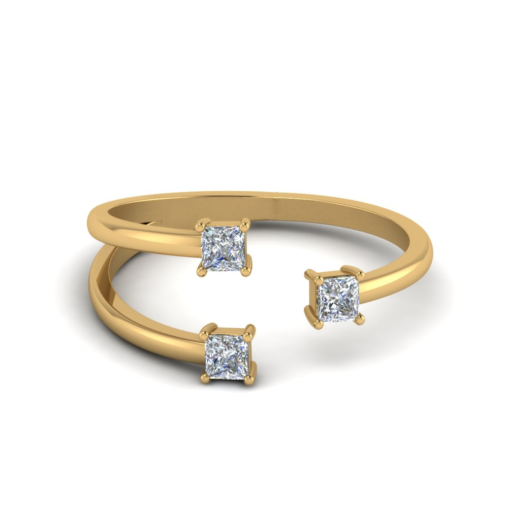 3 Stone Open Engagement Ring In 14K Yellow Gold