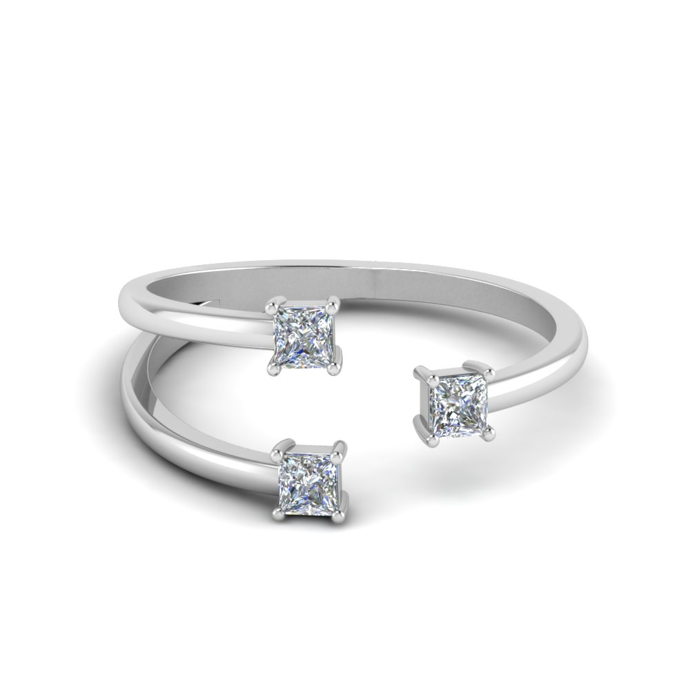 3 Stone Open Engagement Ring In 18K White Gold