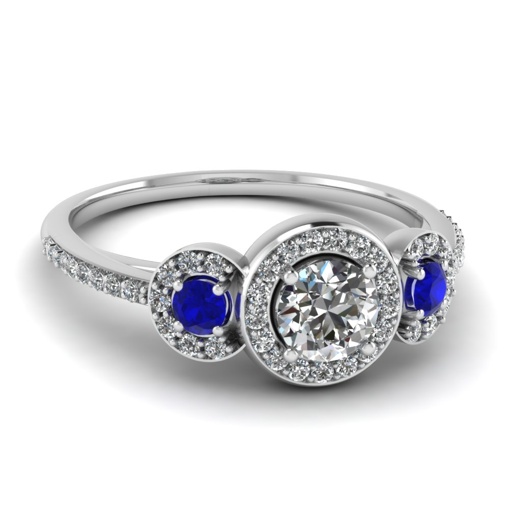 ring multi pear cut engagement blue halo majesty prong rings sapphire wedding o with round stone gemstone bijoux