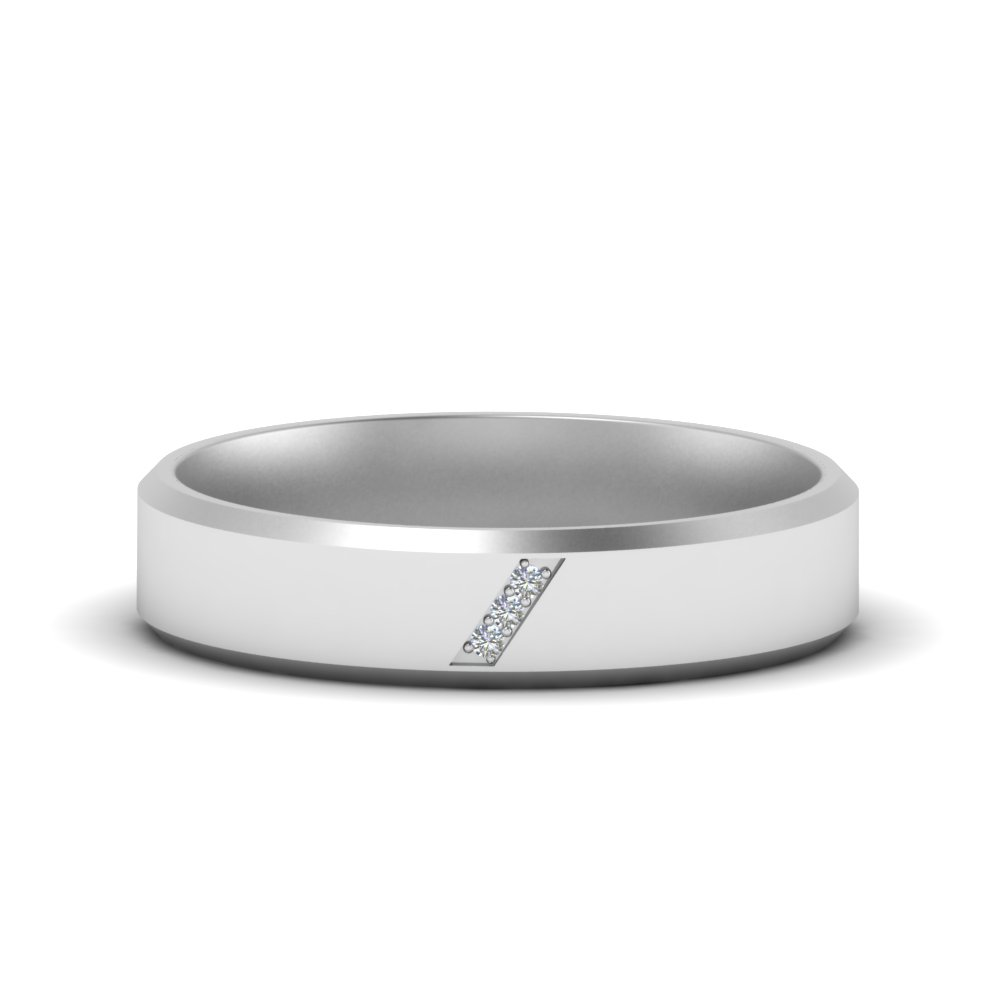 Mens Platinum 3 Stone Band