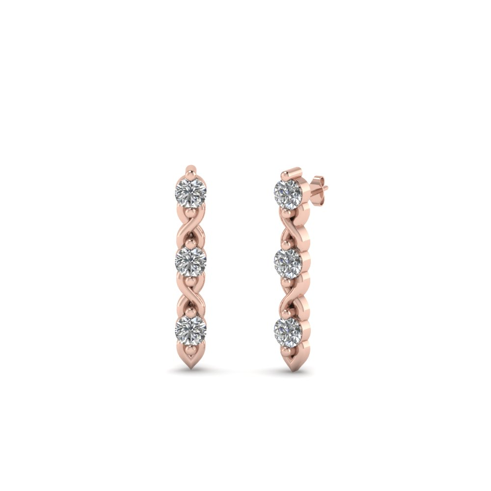 3 stone diamond stud earring in 14K rose gold FDEAR81618 NL RG