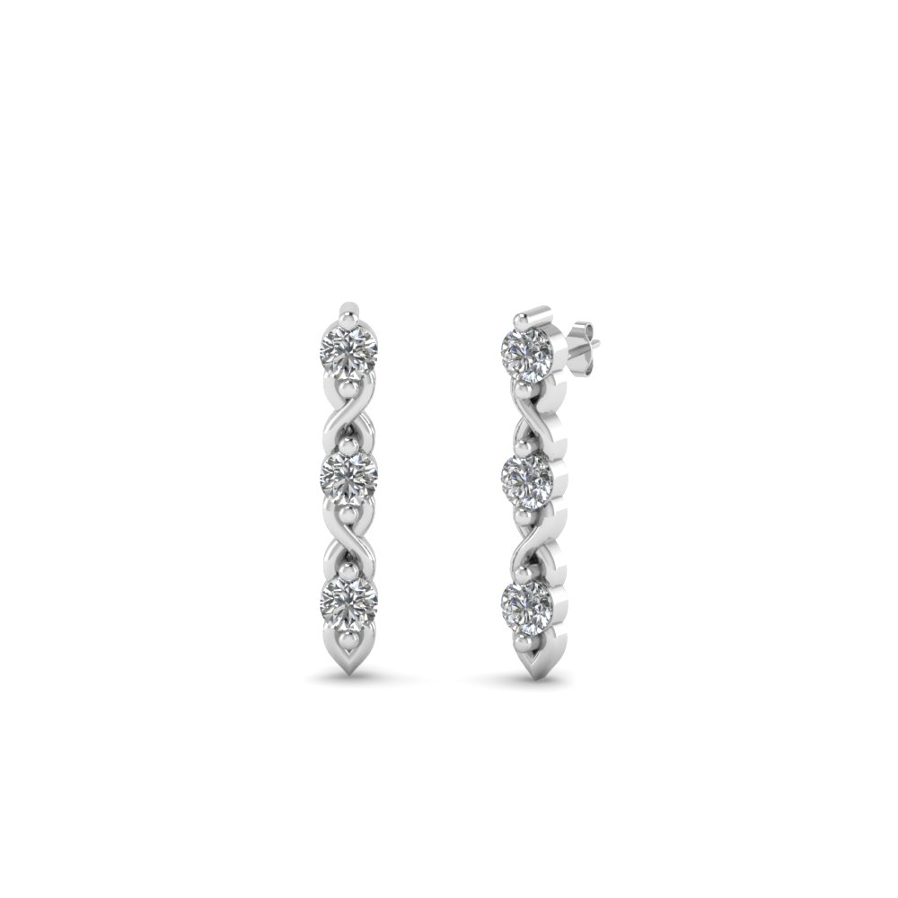 3 Stone Round Diamond Stud Earrings