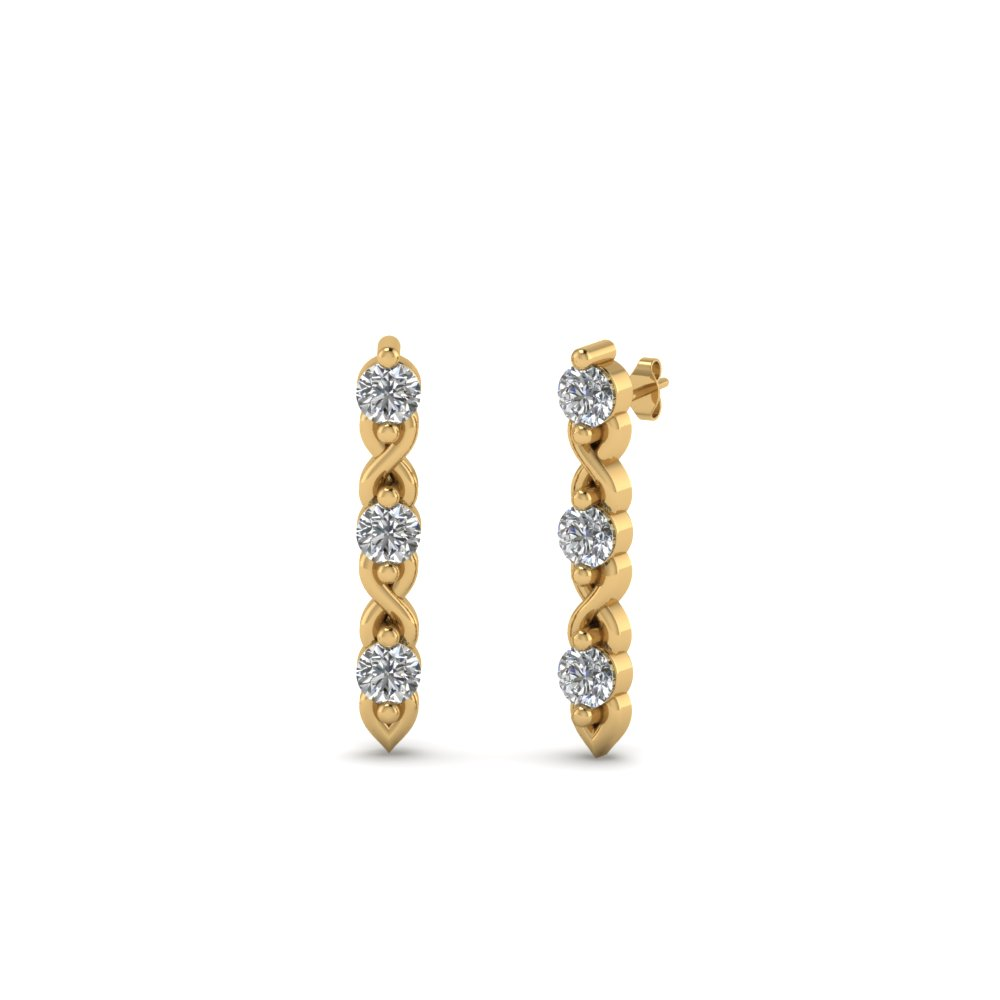 3 Stone Stud Diamond Earring