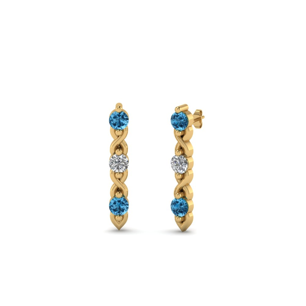 3 stone diamond stud earring with blue topaz in 14K yellow gold FDEAR81618GICBLTO NL YG