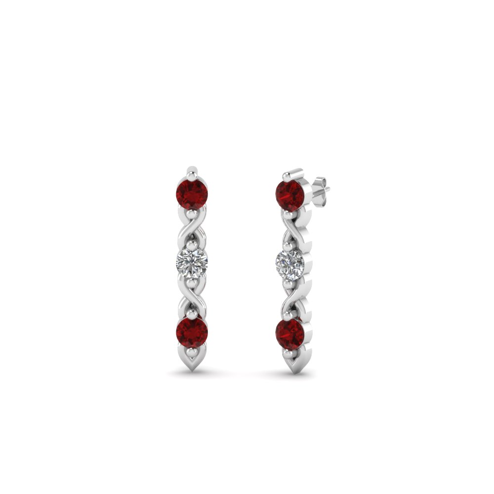 3 stone diamond stud earring with ruby in 14K white gold FDEAR81618GRUDR NL WG