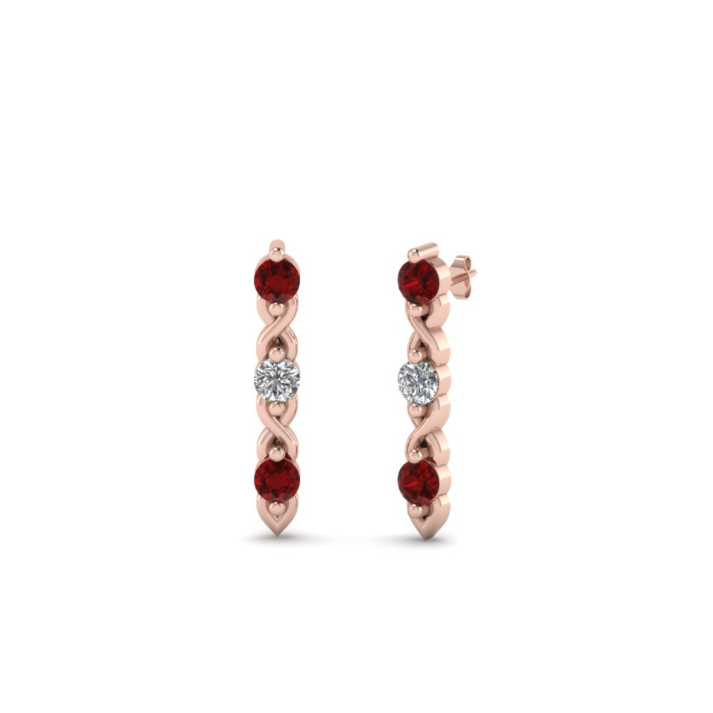 3 stone diamond stud earring with ruby in 18K rose gold FDEAR81618GRUDR NL RG