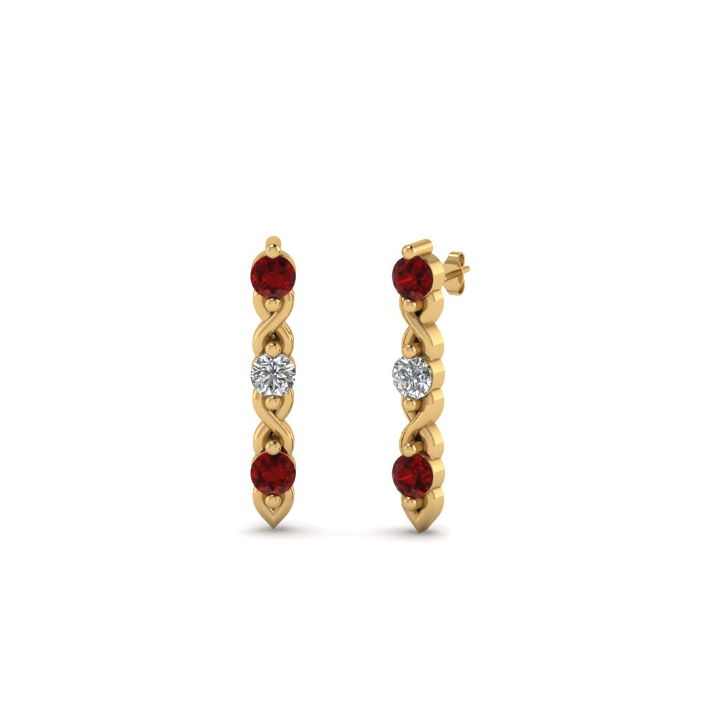 3 stone diamond stud earring with ruby in 18K yellow gold FDEAR81618GRUDR NL YG
