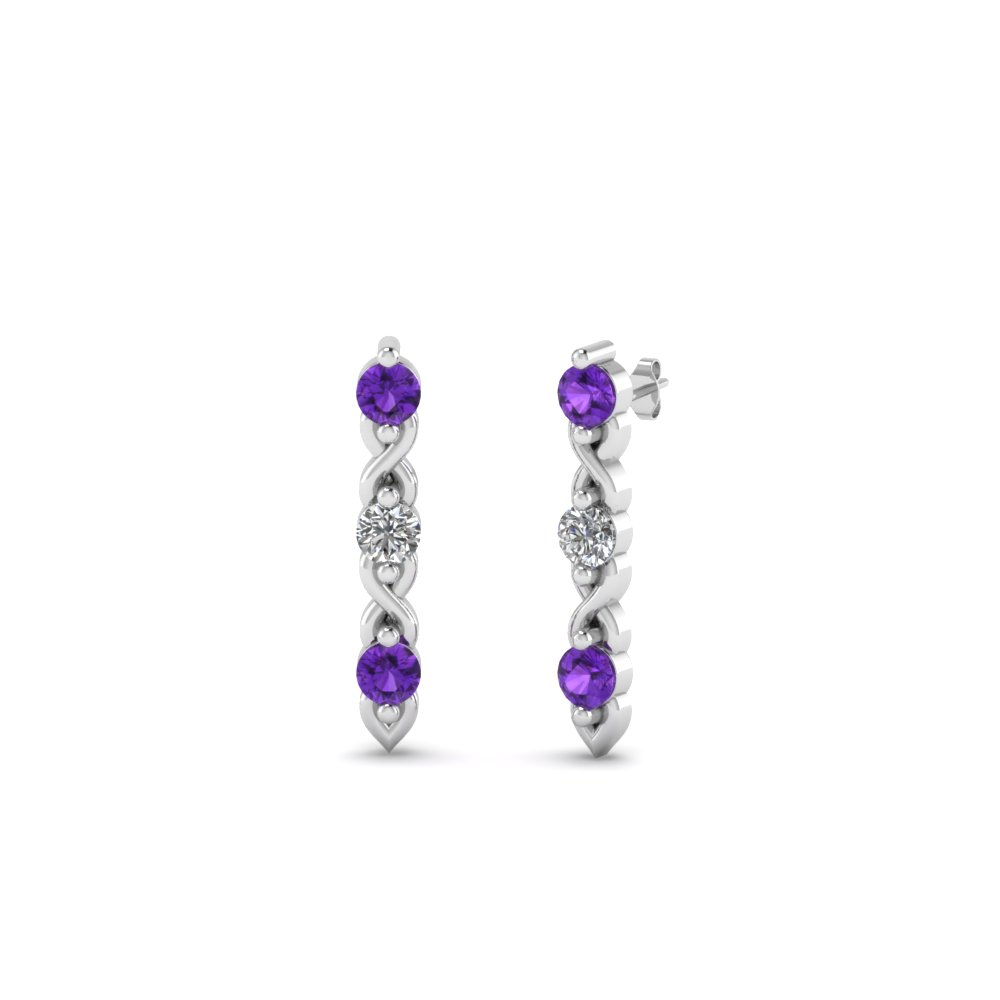3 Stone Twist Stud Earring
