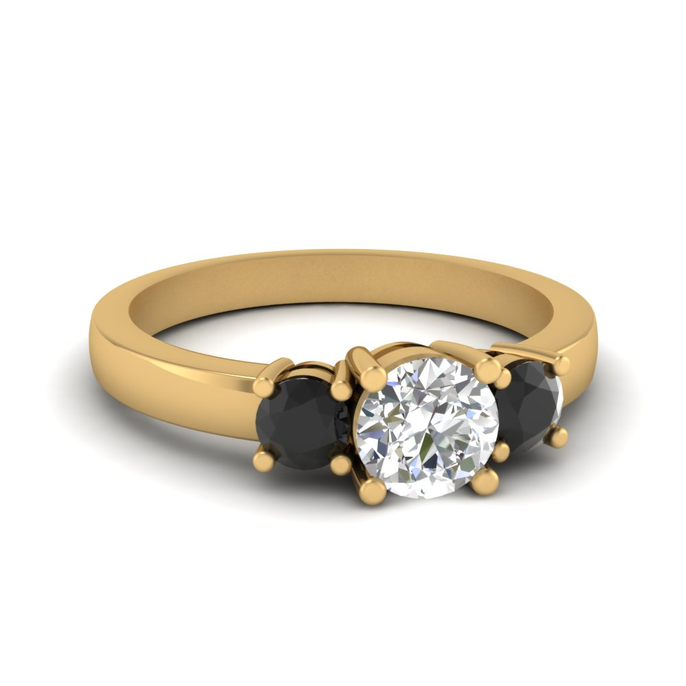 3 stone round engagement ring with black diamond in FDENR2419RORGBLACK NL YG