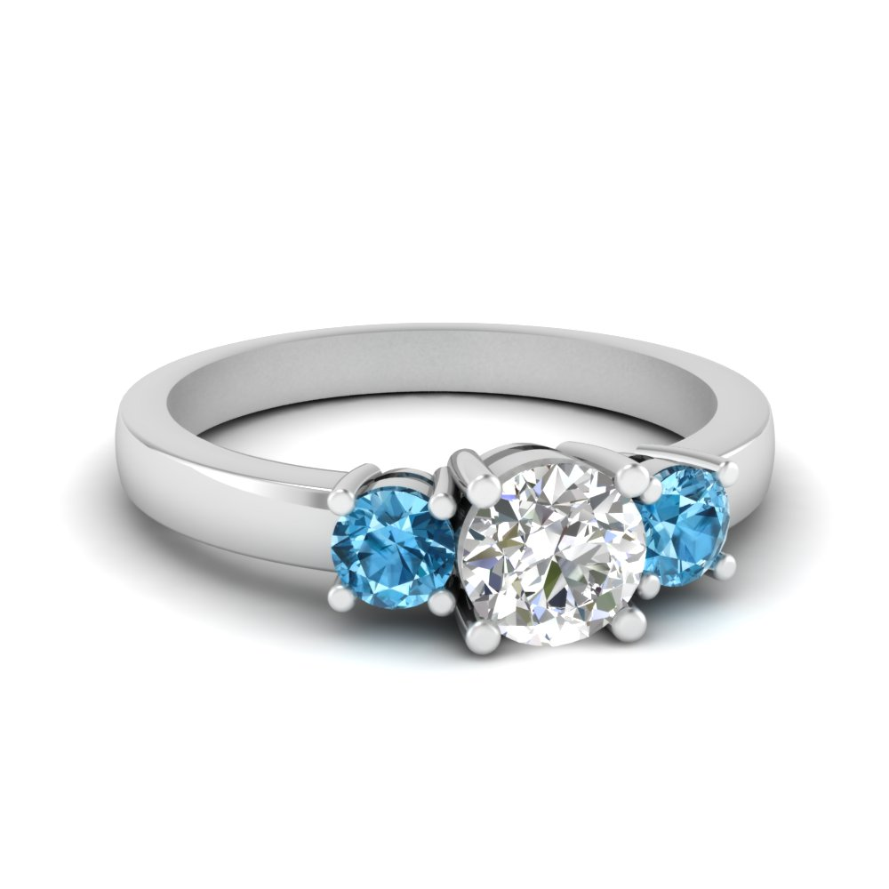 3 stone round engagement ring with blue topaz in FDENR2419RORGICBLTO NL WG