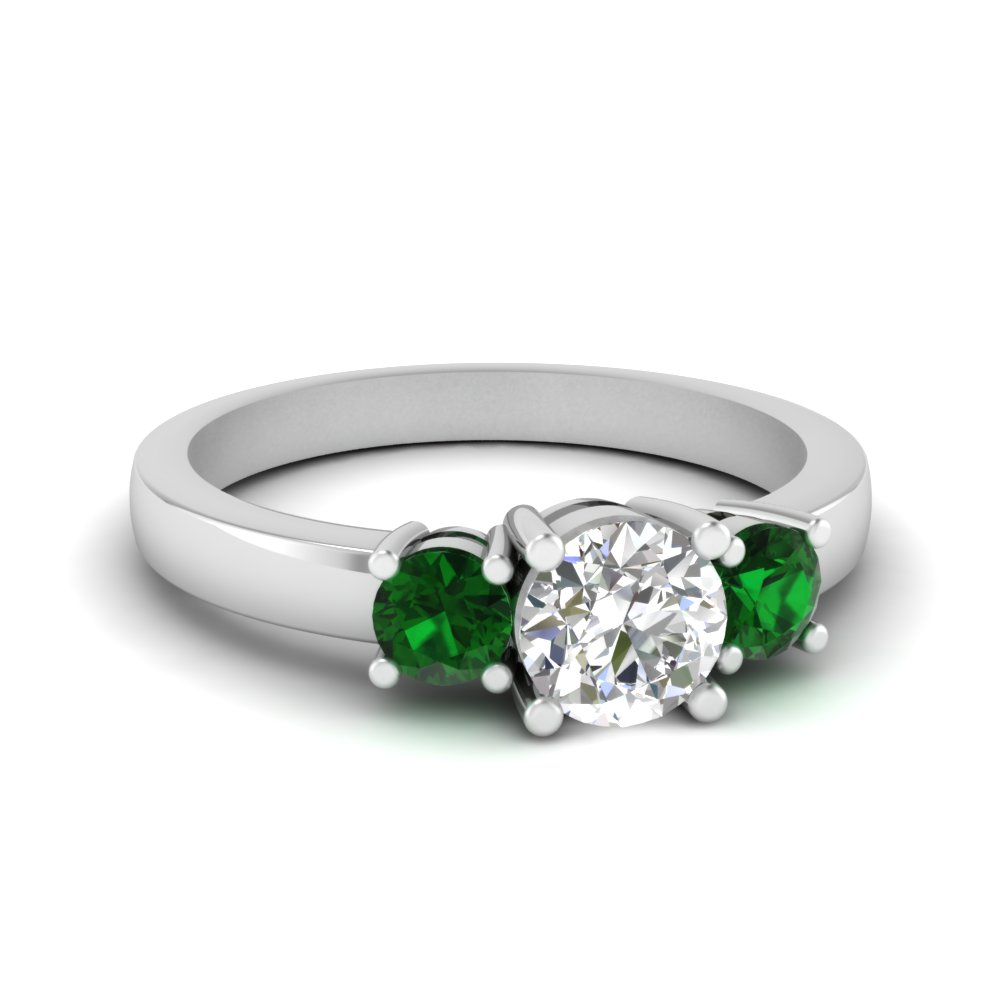3 stone round engagement ring with emerald in FDENR2419RORGEMGR NL WG
