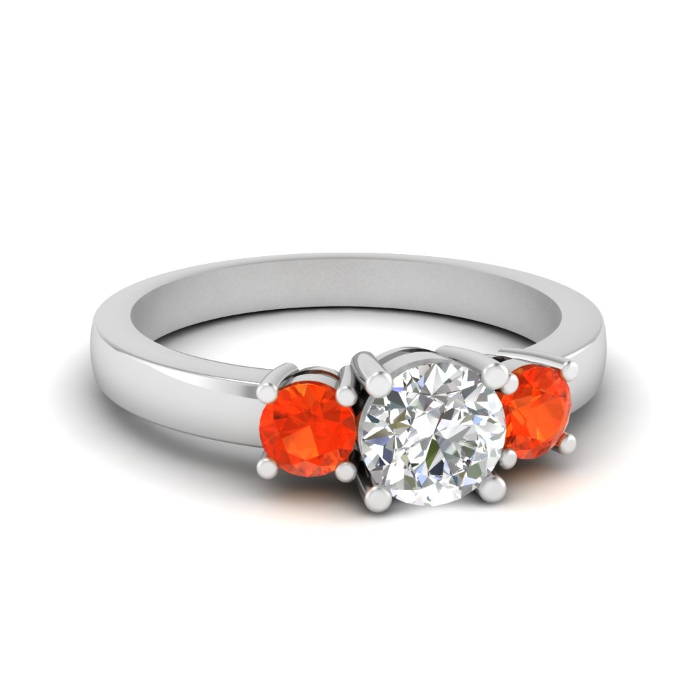 3 stone round engagement ring with orange topaz in FDENR2419RORGPOTO NL WG