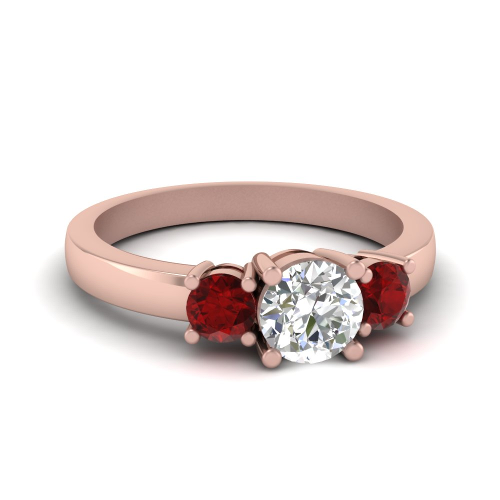 3 stone round engagement ring with ruby in FDENR2419RORGRUDR NL RG