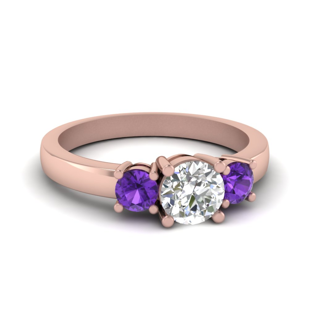 3 stone round engagement ring with violet topaz in FDENR2419RORGVITO NL RG