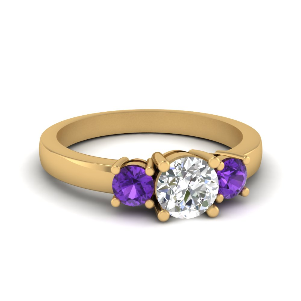3 stone round engagement ring with violet topaz in FDENR2419RORGVITO NL YG