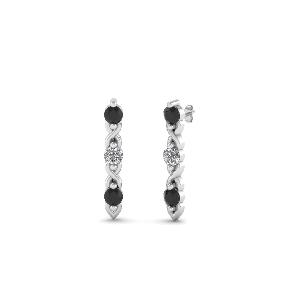 3 Stone Black Diamond Stud Earring In Fdear81618gblack Nl Wg