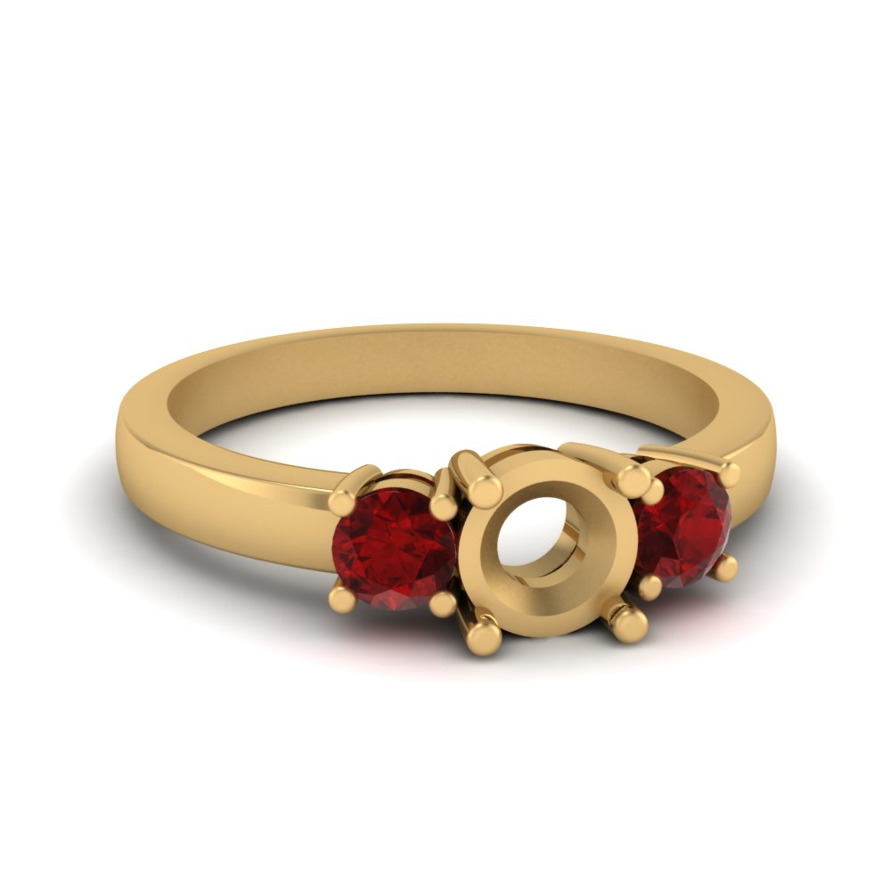 3 stone semi mount engagement ring with ruby in FDENR2419SMRGRUDR NL YG