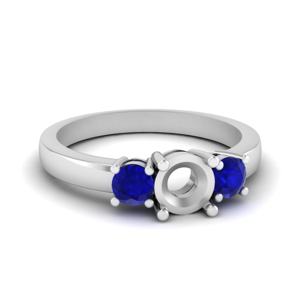 3 stone semi mount engagement ring with sapphire in FDENR2419SMRGSABL NL WG
