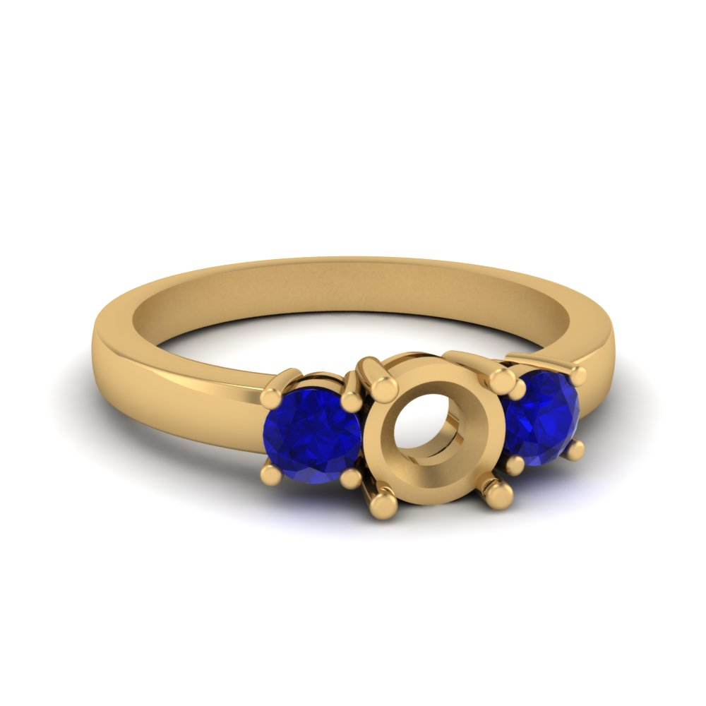 3 stone semi mount engagement ring with sapphire in FDENR2419SMRGSABL NL YG