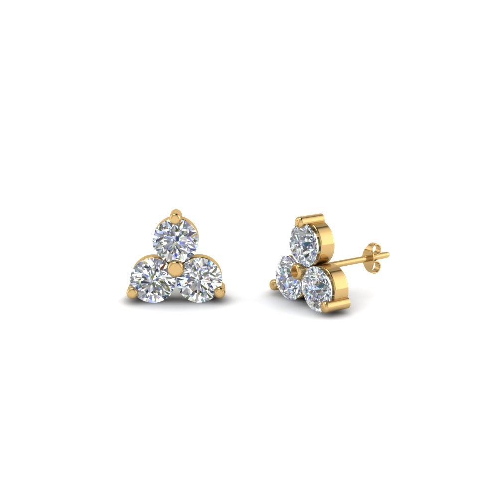 3 Stone Small Diamond Stud Earring For Women In 14K Yellow Gold ...