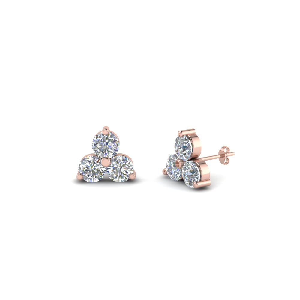 3 Stone Small Diamond Stud Earring For Women In 18k Rose Gold Fdoear40342 Nl Rg