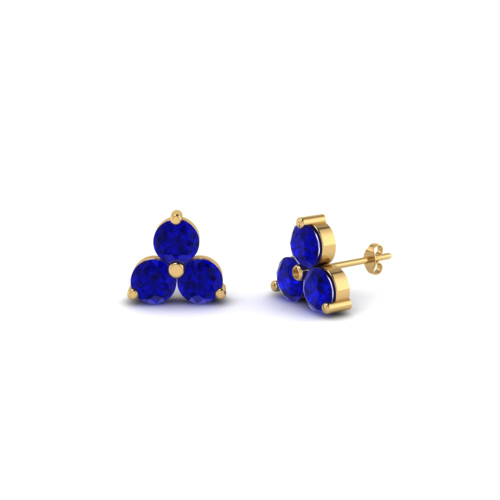 Inexpensive Three Sapphire Stud Earrings