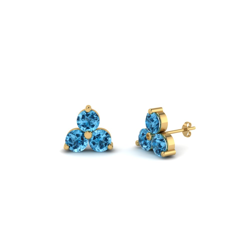 Cheap Blue Topaz Stud Earrings For Female