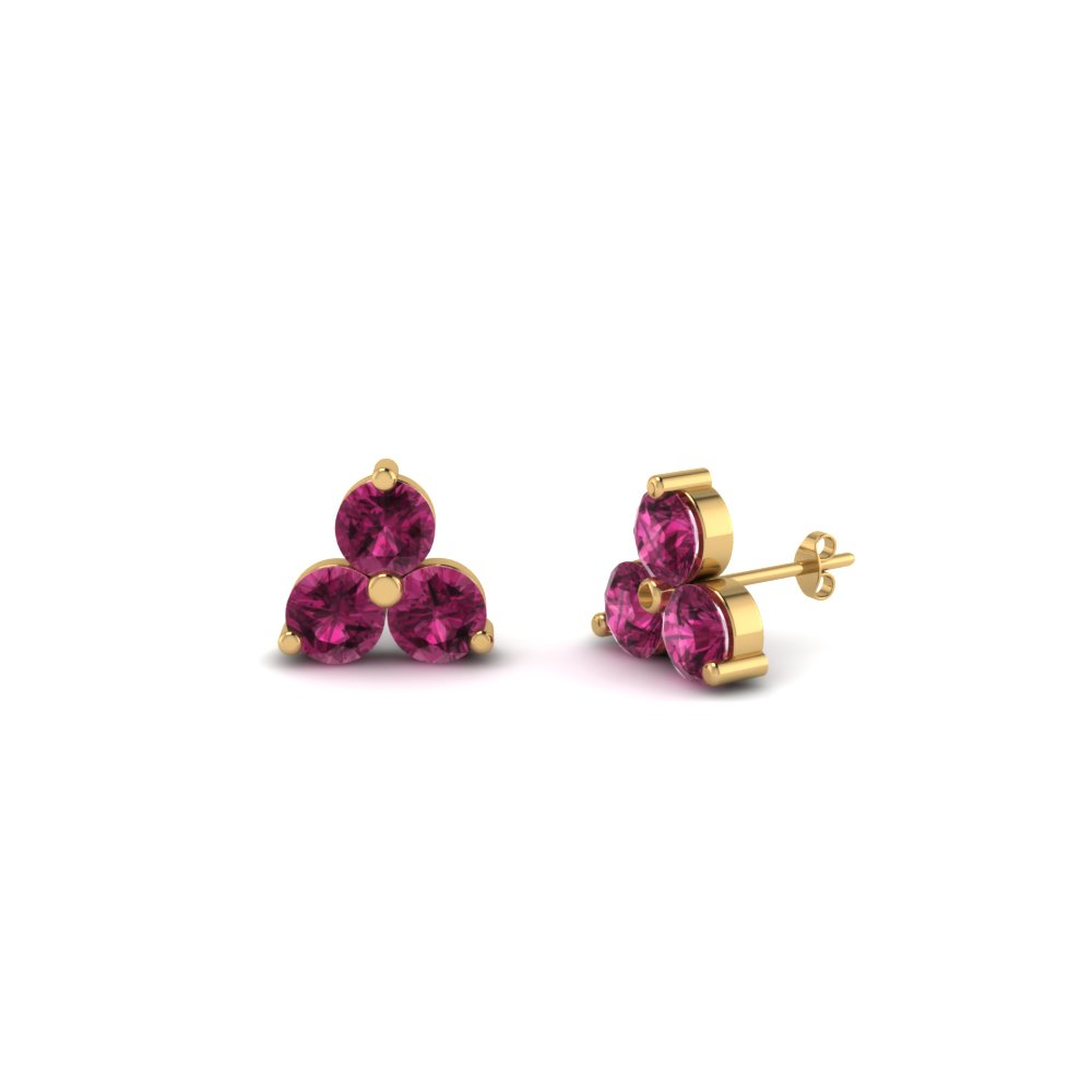 stylish stud pink rvati progressive products raw gemstone sapphire earrings