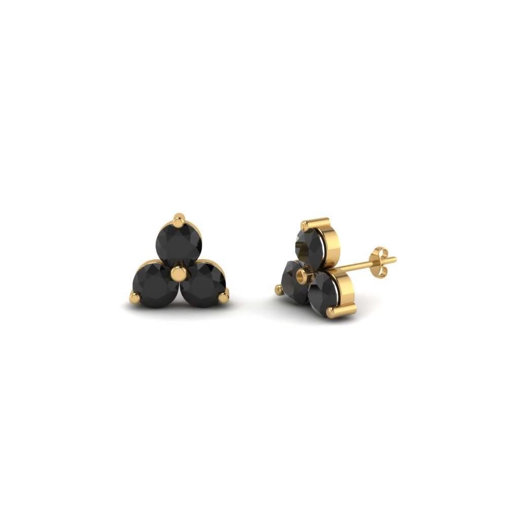 3 Stone Small Stud Earring For Women With Black Diamond In 14k Yellow Gold Fdoear40342gblack Nl