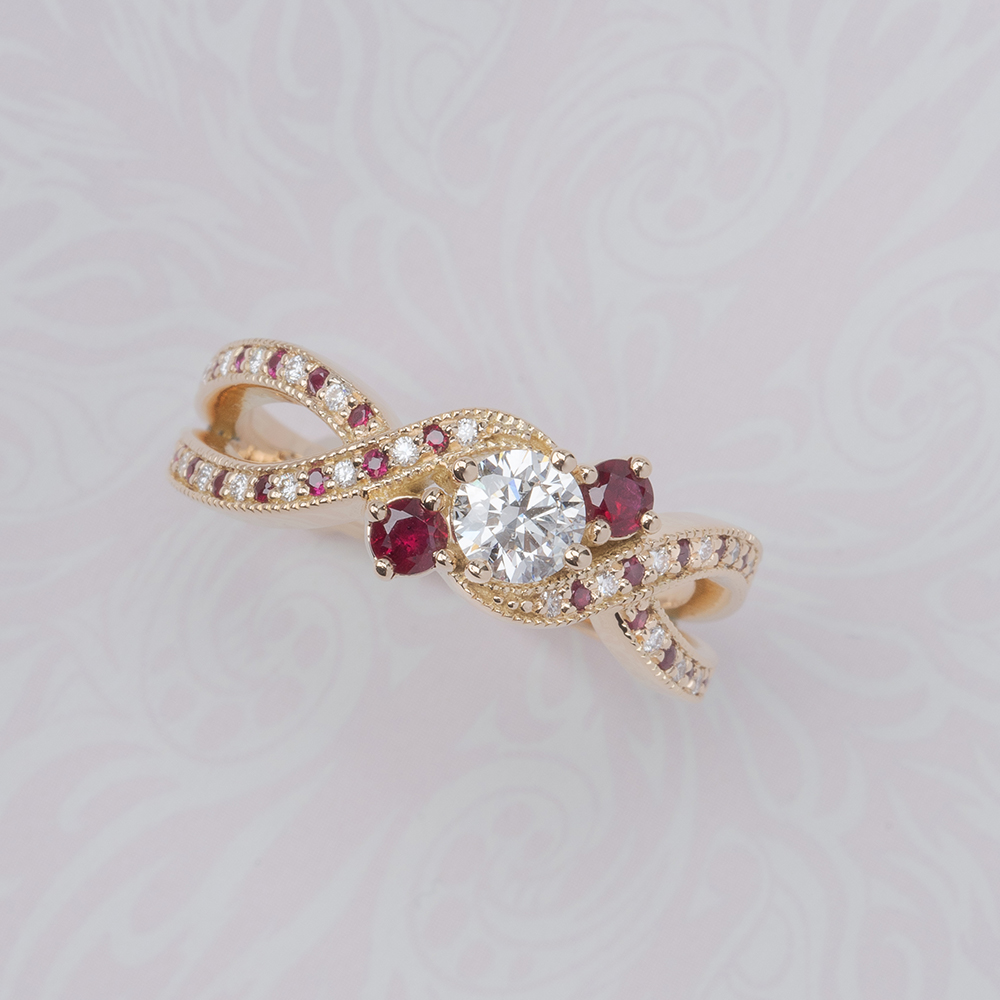 3 stone twisted diamond and ruby engagement ring 18K yellow gold FD8101RORGRUDR