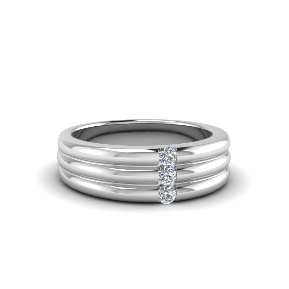 3 stone wedding anniversary band for men in 950 Platinum FDWBS147B NL WG