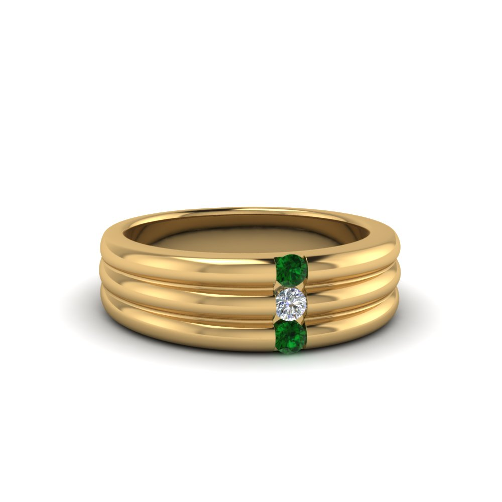 3 stone wedding anniversary band for men with emerald in 18K yellow gold FDWBS147BGEMGR NL YG