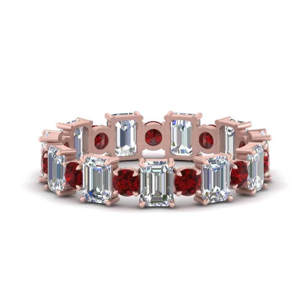 3.50 Ct. Emerald Cut With Ruby Band