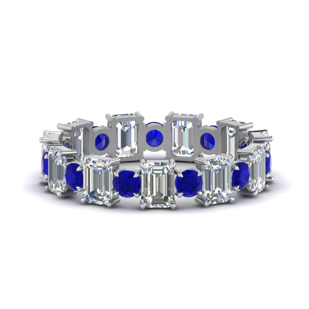Emerald and Sapphire Wedding Band for Anniversary