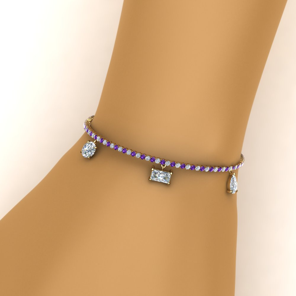3.75 carat diamond mom charm bracelet with purple topaz in FDBRC8724GVITOHAND NL YG