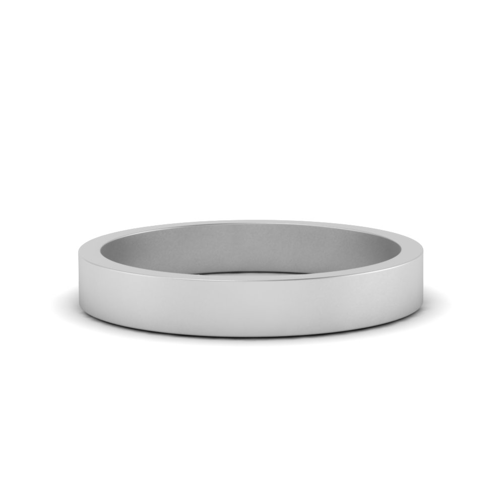 3MM White Gold Flat Wedding Band