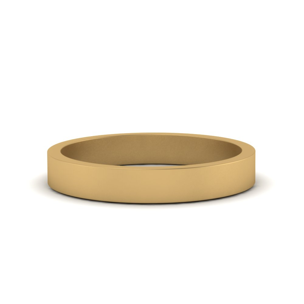 3mm Gold Flat Wedding Band