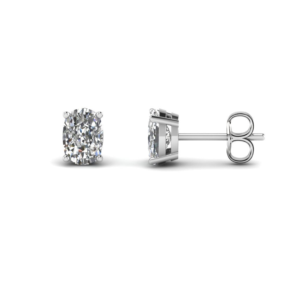 4 Carat Cushion Single Stud Earring