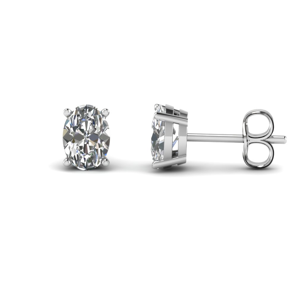 4 carat oval shaped stud earring in FDEAR4OV2CT NL WG