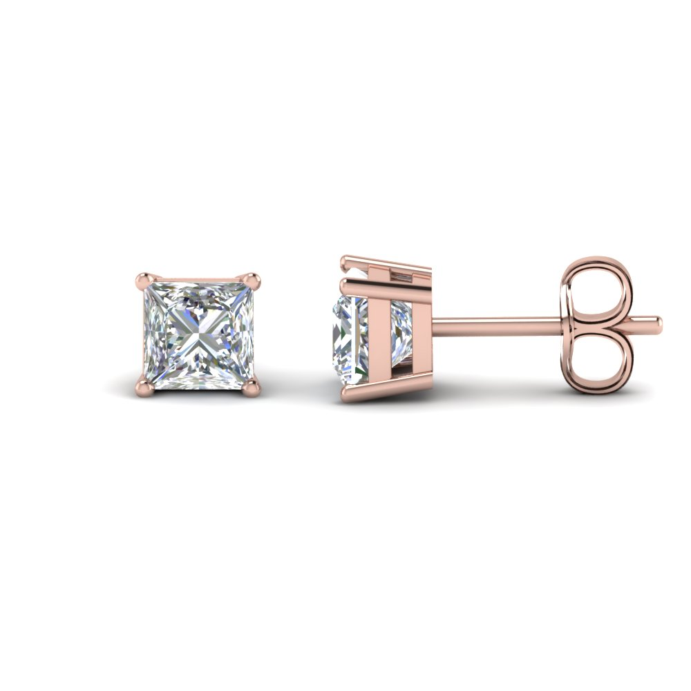 4 carat princess cut stud earring in FDEAR4PR2CT NL RG