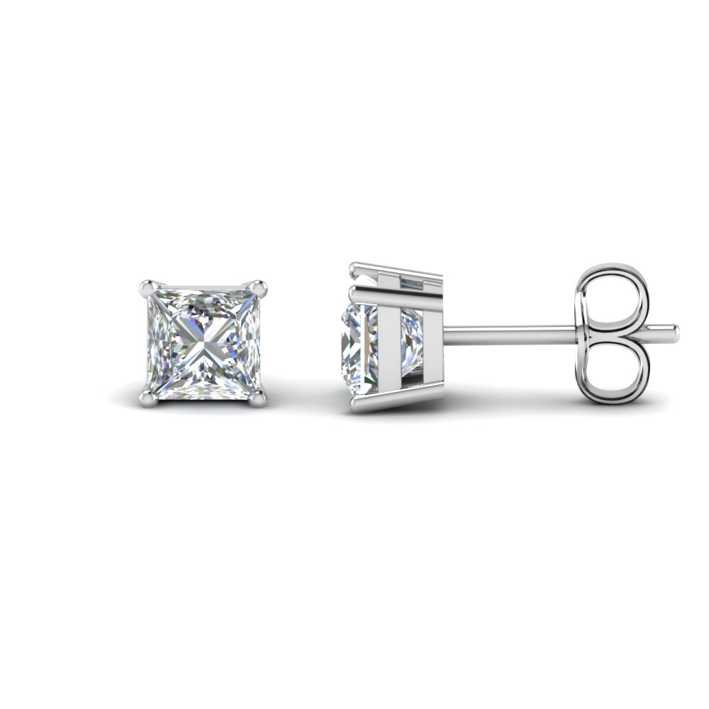 4 Carat Princess Cut Stud Earring