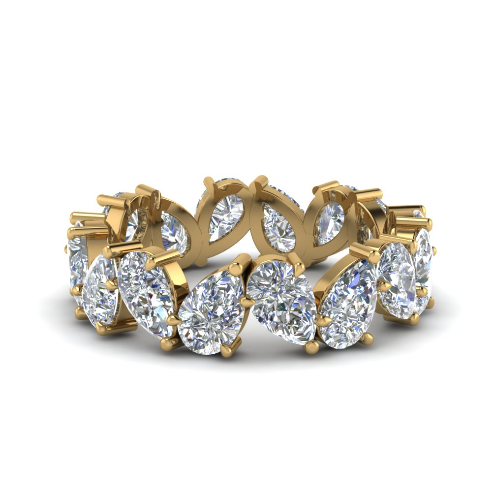 Pear Shaped  Eternity Bands with White Diamond