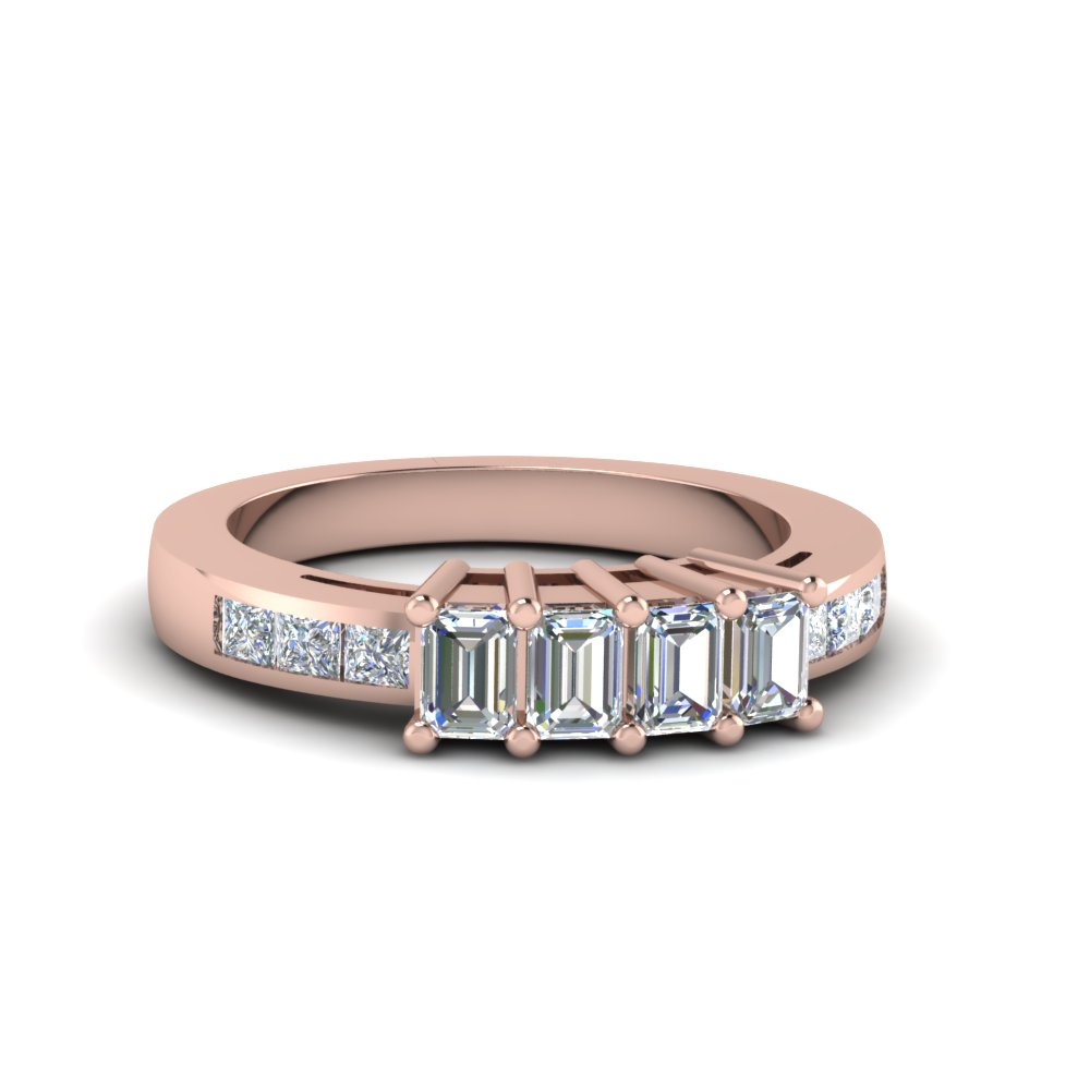 4 emerald cut diamond accents stone wedding band for women in 14K rose gold FDENS207B NL RG