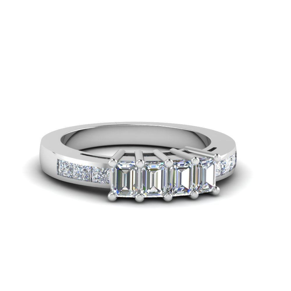 4 emerald cut diamond accents stone wedding band for women in 14K white gold FDENS207B NL WG