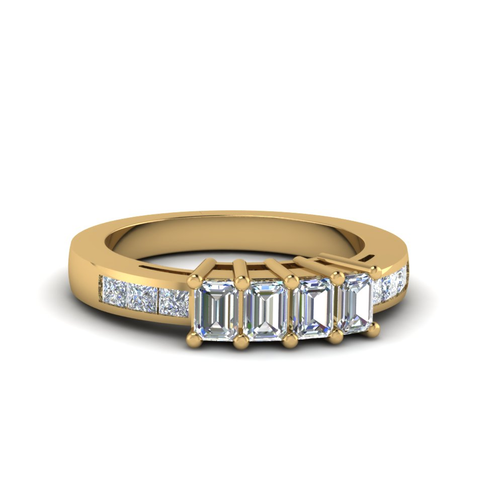 4 Emerald Cut Diamond Accents Stone Wedding Band For Women In 14K Yellow  Gold FDENS207B NL