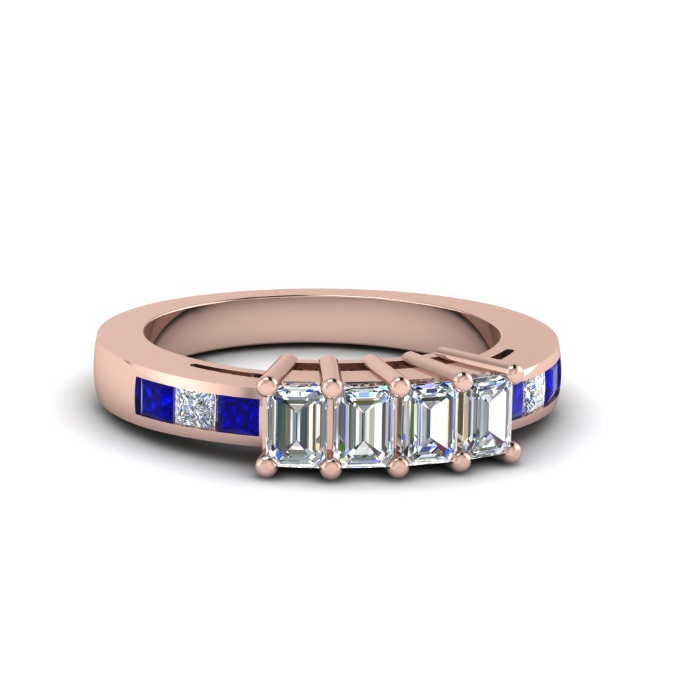 4 emerald cut diamond accents stone wedding band for women with sapphire in 14K rose gold FDENS207BGSABL NL RG